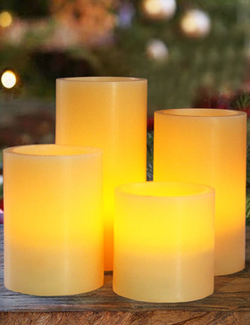 HOME MOST Set of 4 REAL WAX LED Pillar Candles Timer (SMOOTH EDGE, Ivory, 3