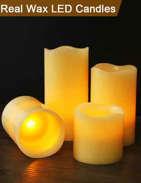 HOME MOST Set of 4 REAL WAX LED Pillar Candles Timer (WAVY EDGE, Ivory, 3
