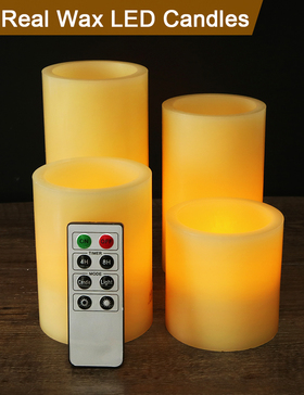 HOME MOST Set of 4 REAL WAX Ivory Flameless Pillar Candles with Remote (SMOOTH EDGE, 3