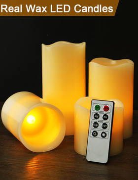 HOME MOST Set of 4 REAL WAX Ivory Flameless Pillar Candles with Remote (WAVY EDGE, 3