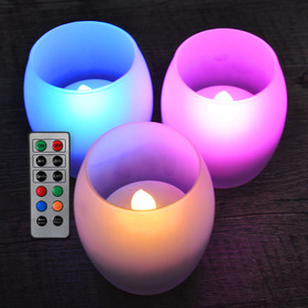 HOME MOST Set of 3 Frosted Glass Candle Holders with LED Colorful Tea Lights (OVAL Shape Holder, 3.5