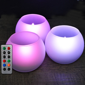 HOME MOST Set of 3 Frosted Glass Candle Holders with LED Colorful Tea Lights (GLOBE Shape Holder, 3