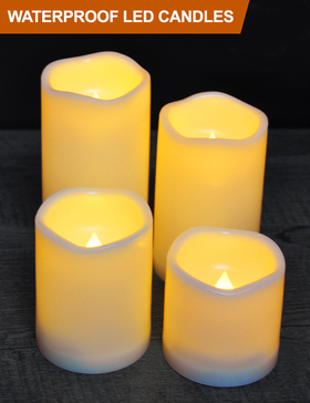 HOME MOST Set of 4 Waterproof LED Pillar Candles with Timer (CREAM, 3