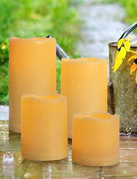 HOME MOST Set of 4 Outdoor LED Pillar Candles With Timer Waterproof - Battery Operated Pillar Candles With Flickering Flame 3x3 3x4 3x5 3x6 - Unscented Plastic Pillar Candles For Centerpiece