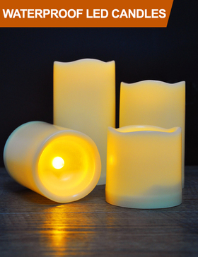HOME MOST Set of 4 Waterproof LED Pillar Candles with Timer (IVORY, 3