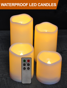 HOME MOST Set of 4 WATERPROOF Outdoor LED Pillar Candles with Remote (CREAM, 3