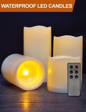 HOME MOST Set of 4 WATERPROOF Outdoor LED Pillar Candles with Remote (IVORY, 3