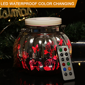 HOME MOST Waterproof Large Size Outdoor Color Changing Decorative LED Jar with Remote Control (Silver Body - Butterflies Pattern) - christmas decorations for home 11821
