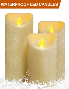 HOME MOST Set of 3 LED Pillar Candles Battery Operated (CREAM, 5