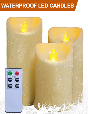 HOME MOST Set of 3 Waterproof Pillar LED Candles with Remote & Timer (CREAM, 5