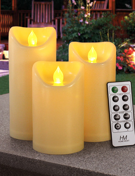 HOME MOST Set Of 3 Outdoor Pillar Candles With Timer Waterproof - Battery Operated LED Pillar Candles With Remote 3x5 3x6 3x7 - Cream Plastic Flickering Flameless Pillar Candles Unscented for Outside