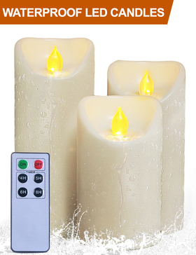 HOME MOST Set of 3 Waterproof Pillar LED Candles with Remote & Timer (IVORY, 5