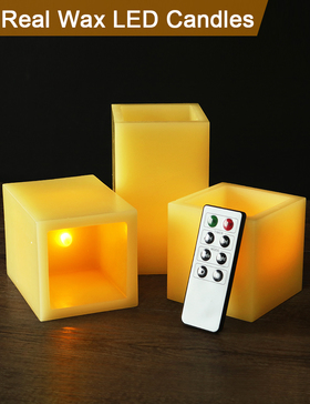HOME MOST Set of 3 Real Wax Flameless LED Square Candle with Remote (Ivory, 3