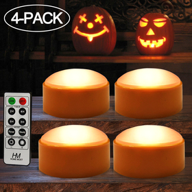 HOME MOST 4-PACK Halloween LED Pumpkin Lights Battery Operated - Orange Pumpkin Lights with Timer and Remote Halloween Decor - Halloween Jack-O-Lantern Decoration Outdoor - Flameless Pumpkin Candles