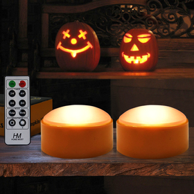 HOME MOST 2-PACK Halloween Pumpkin Lights with Remote / Timer - Orange Pumpkin Lights LED Battery Operated Halloween Decor - Halloween Jack-O-Lantern Outdoor Pumpkin Decorations - LED Lights Halloween