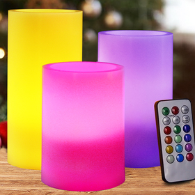 HOME MOST Set of 3 Flickering REAL WAX Flameless LED Pillar Candles with Remote 3x4 3x5 3x6 Multi Colored - Unscented Battery Operated Pillar Candles Bulk - Color Changing Candles