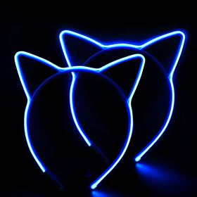 HOME MOST  [Pack of 2] Flashing LED Light Up Cat Ears Headband for kids Girls, Blue - Party Favors Costume Headband for Women Adults - EL Wire Neon Rave Led Kitty Ear Headband Lights for Halloween Cosplay Party