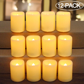 HOME MOST 12-Pack LED Votive Candles with Timer - LED Flameless Flickering Votive Candles Battery Operated - Decorative Votive Candles Unscented - Cream Votive Candles Bulk for Wedding and Church