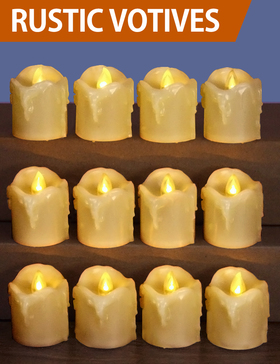HOME MOST 12-Pack LED Votive Candles with Timer - LED Flameless Votive Candles Flickering - Battery Operated Decorative Votive Candles Unscented - Ivory Votive Candles Bulk for Church Wedding HM132