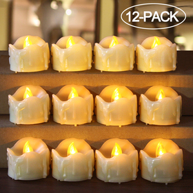HOME MOST 12-Pack LED Votive Candles with Timer - LED Flameless Votive Candles Flickering - Battery Operated Decorative Votive Candles Unscented - Cream Votive Candles Bulk for Church Wedding HM132