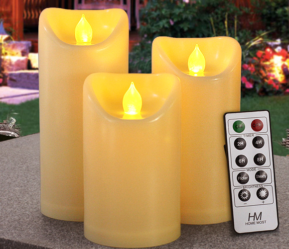 HOME MOST Set of 3 Waterproof Pillar LED Candles